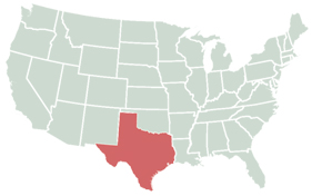 Texas highlighted on map of the U.S.